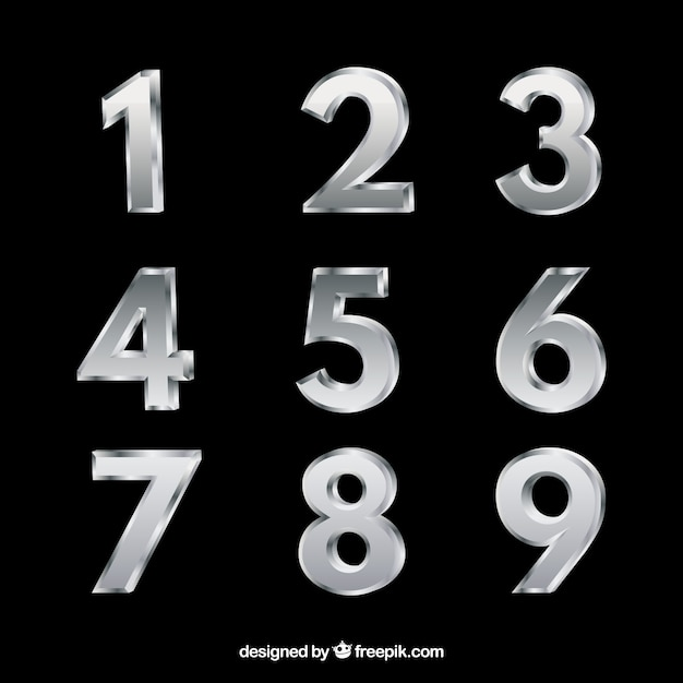 Silver number collection Free Vector
