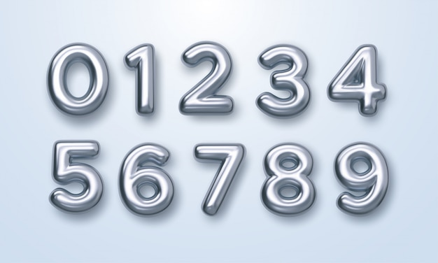 Silver numbers set.   3d illustration. realistic shiny characters. isolated digits. decoration elements for banner, cover, birthday or anniversary party invitation design Premium Vector