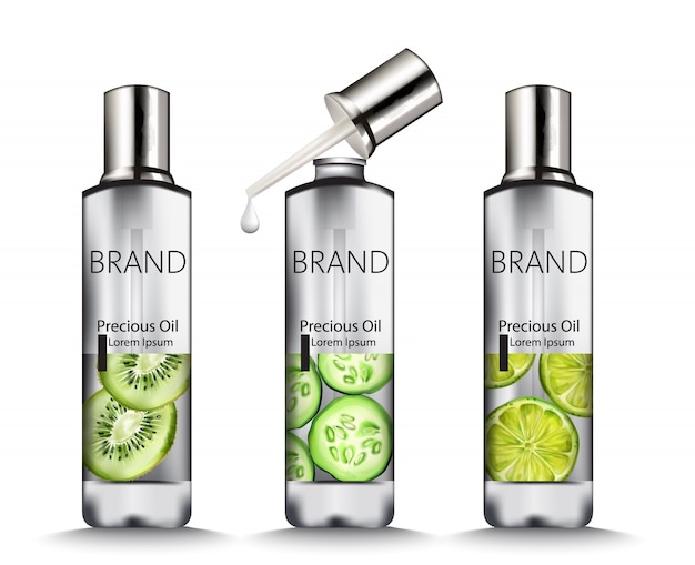 Silver oil bottles with fruits drawings Premium Vector