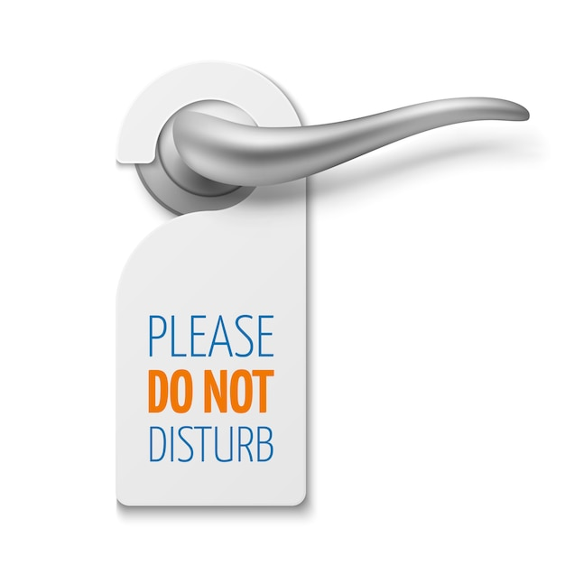 Silver realistic door handle with do not disturb white blank vector sign Premium Vector