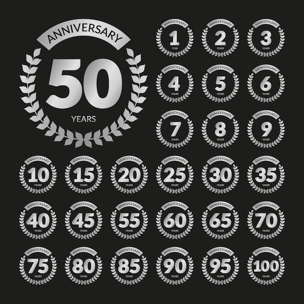 Silver retro anniversary badges set Premium Vector
