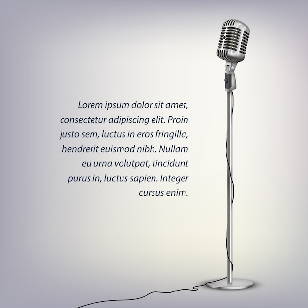 Silver retro microphone with cable on floor stand and text on illuminated grey Premium Vector