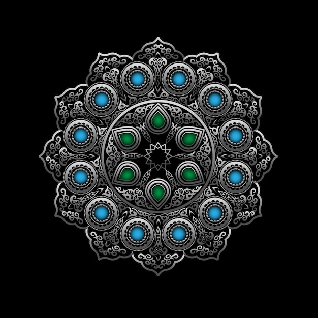 Silver round ornament with blue and green gemstones - arabic, islamic, east style Premium Vector