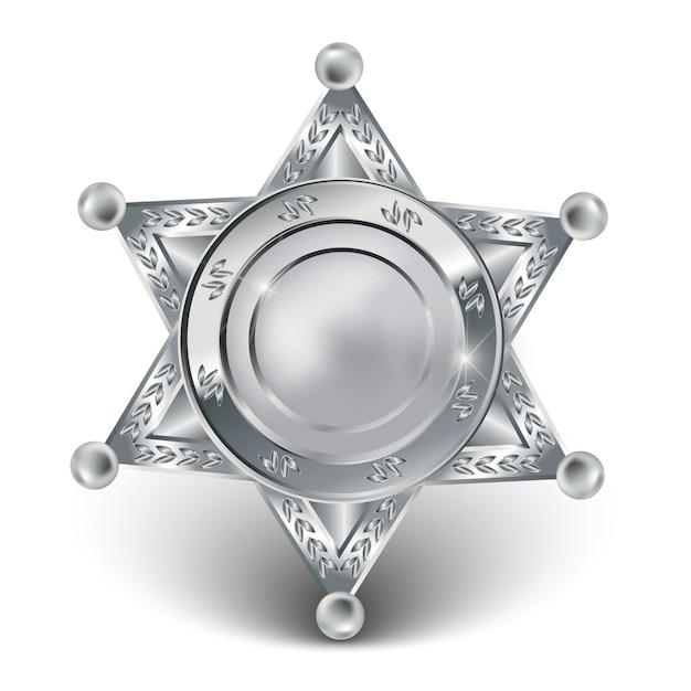 Silver sheriff star Premium Vector