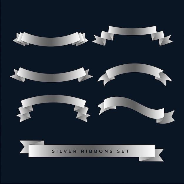 Silver shiny 3d ribbons set Free Vector