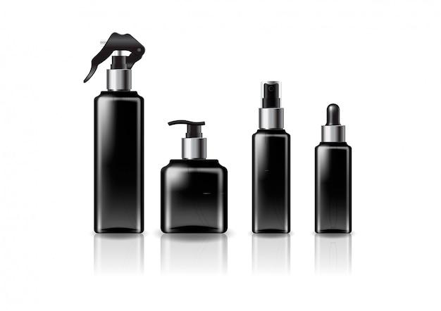 Silver sizes black square cosmetic bottle   template. Premium Vector
