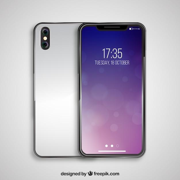 Silver smartphone Free Vector