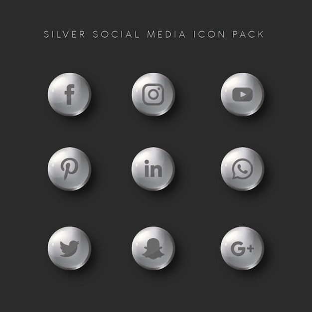 Silver social media icon pack Premium Vector