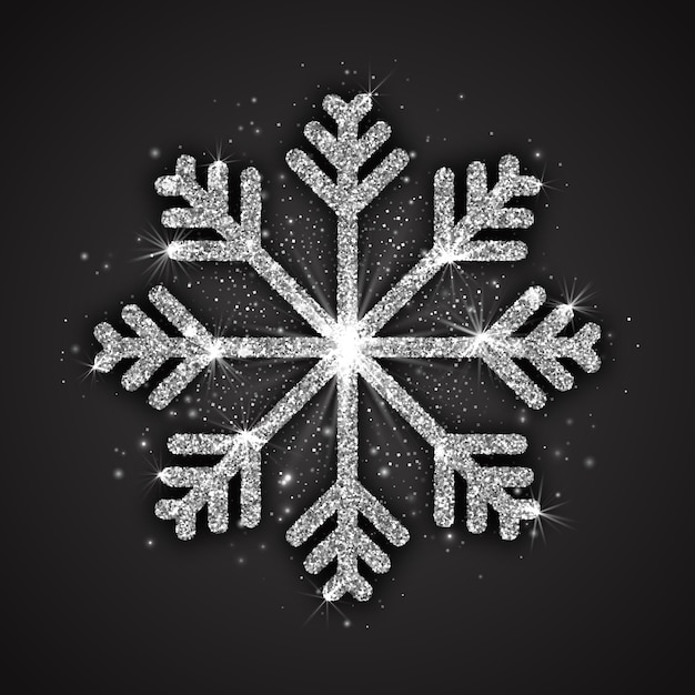 Silver sparkling snowflake christmas decoration Premium Vector