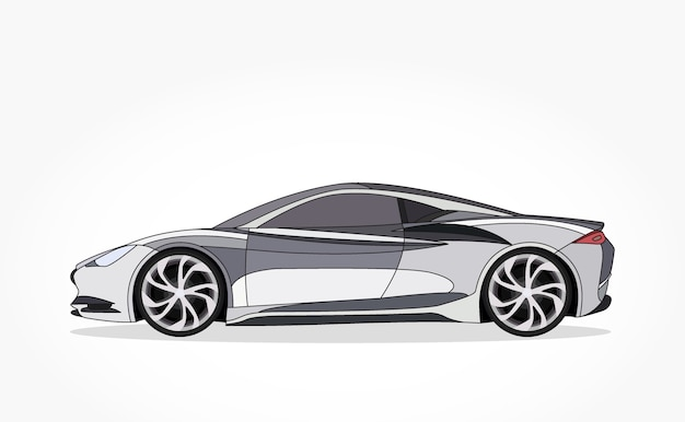 Silver Sports Car Cartoon With Detailed Side And Shadow Effect