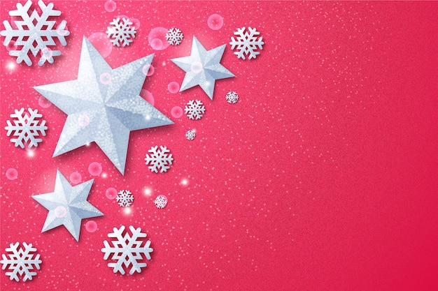 Silver stars copy space background Free Vector
