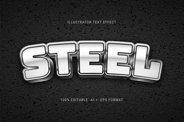 Silver steel text effect Free Vector