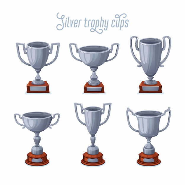 Silver trophy cups Premium Vector