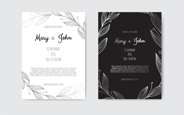 Silver vector invitation with floral elements Premium Vector