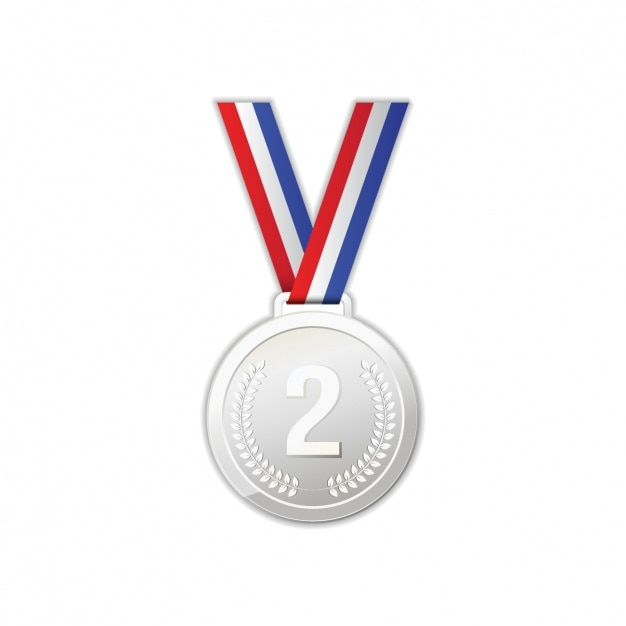 Silvery medal design Free Vector