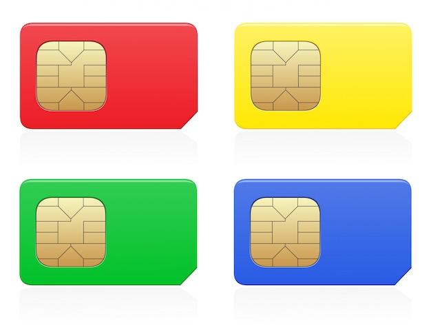 Simカードの色ベクトル図 Premiumベクター
