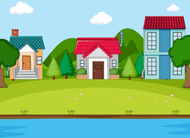 Simeple countryside village scene Free Vector