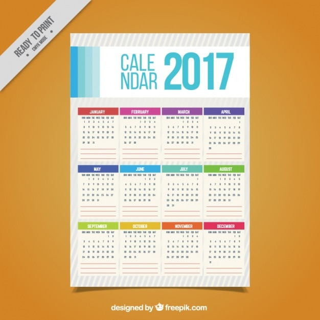 Simple 2017 calendar with colors Free Vector