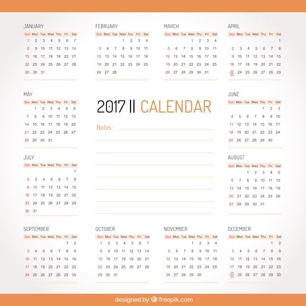 Minimalist Calendar 2017 Free : Simple calendar with orange details vector free