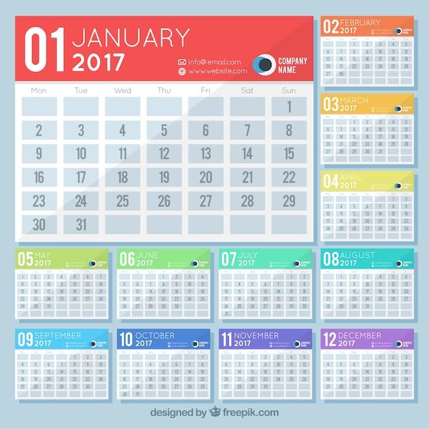 Minimalist Calendar 2017 Free : Simple calendar vector free download