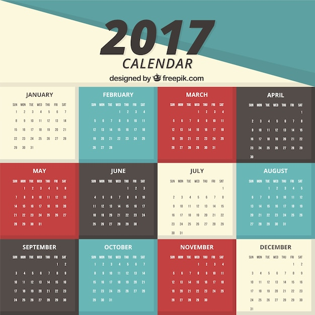 Minimalist Calendar 2017 Free : Simple calendar vector free download