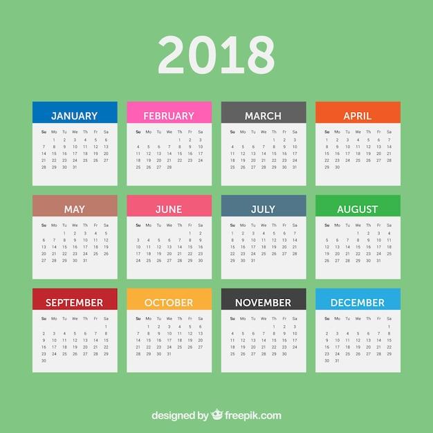 Simple 2018 calendar Free Vector