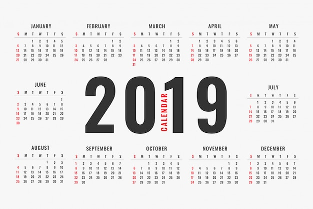 Simple 2019 calendar layout design Free Vector