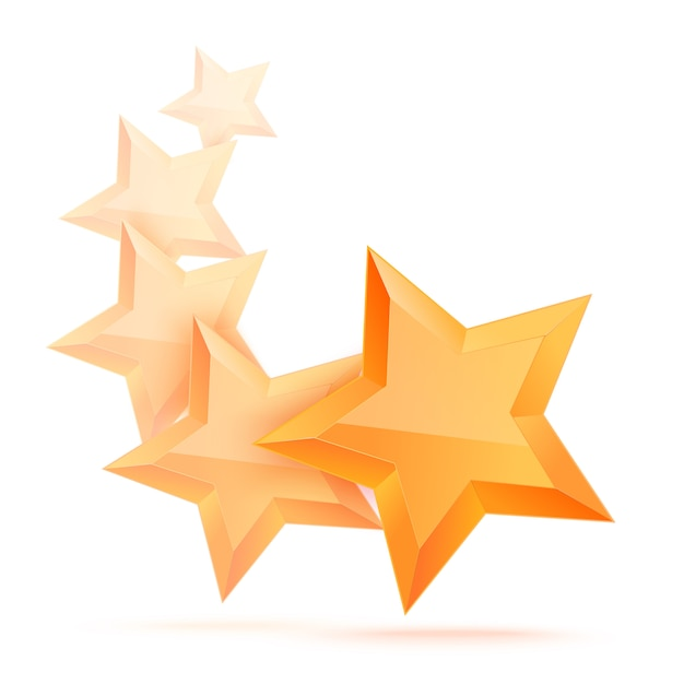 Simple 5 star isolated. the award for the best choice. premium class. Premium Vector