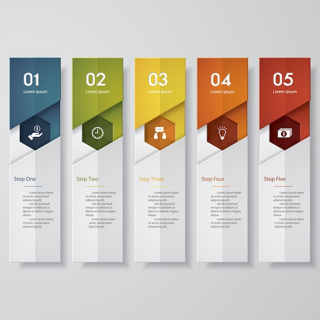 Simple 5 steps clean number banners template Premium Vector