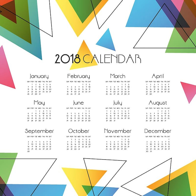 Simple Abstract Vector Calendar 2018