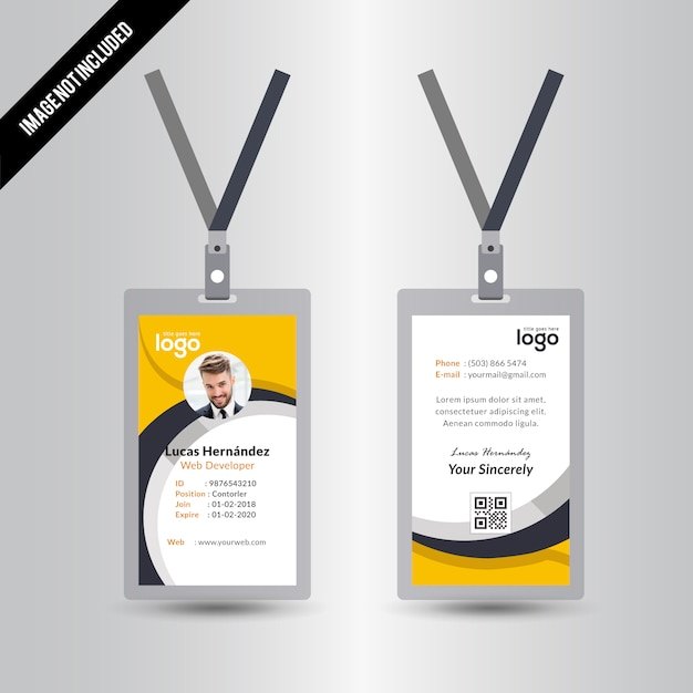 Simple Abstract Vector Id Card Design Template With Yellow & Black ...