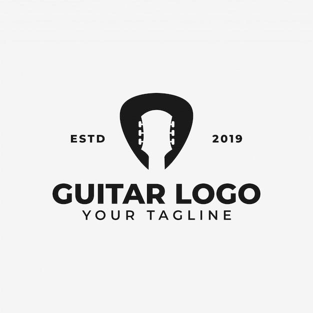 Simple acoustic guitar and pick, music shop, concert logo Premium Vector
