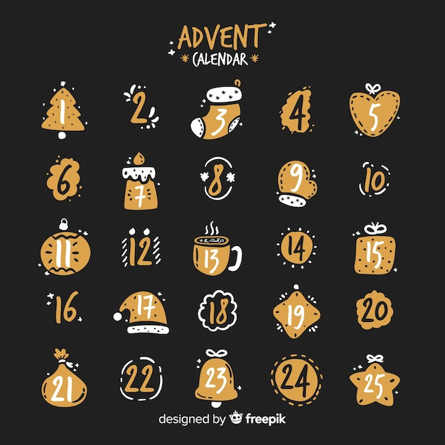 Simple advent calendar Free Vector