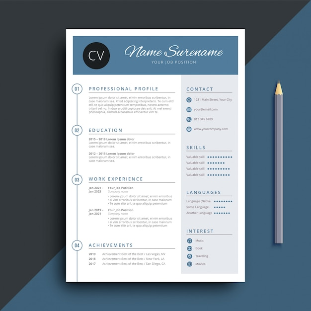 Simple And Classy Resume CV Template Premium Vector