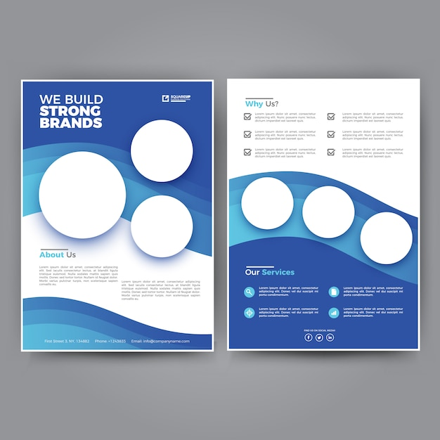 simple and clean blue business flyer template premium vector