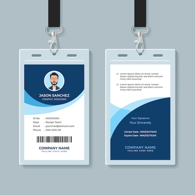 simple and clean employee id card design template vector premium
