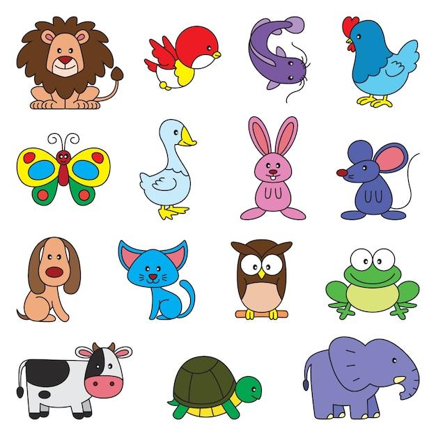 Набор простых мультфильмов животных Premium векторы