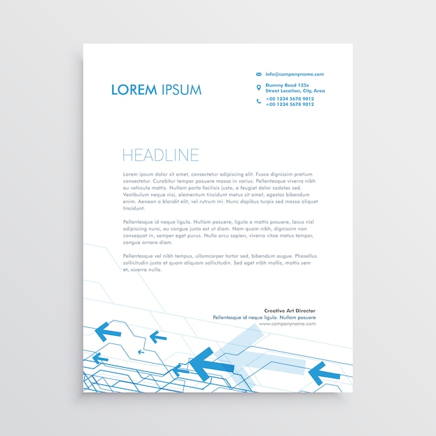 Simple Arrow Letterhead Template Design Free Vector