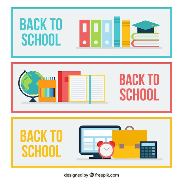 Simple back to school banners in flat design
