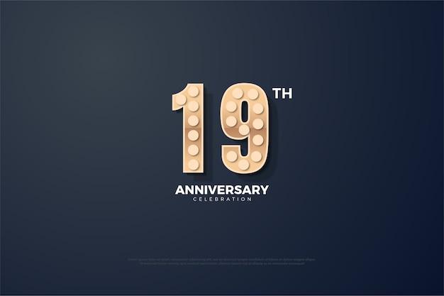Простой фон для вашей девятнадцатой годовщины с выпуклыми и светящимися числами Premium векторы