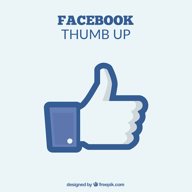 Simple background of thumb up of facebook Free Vector