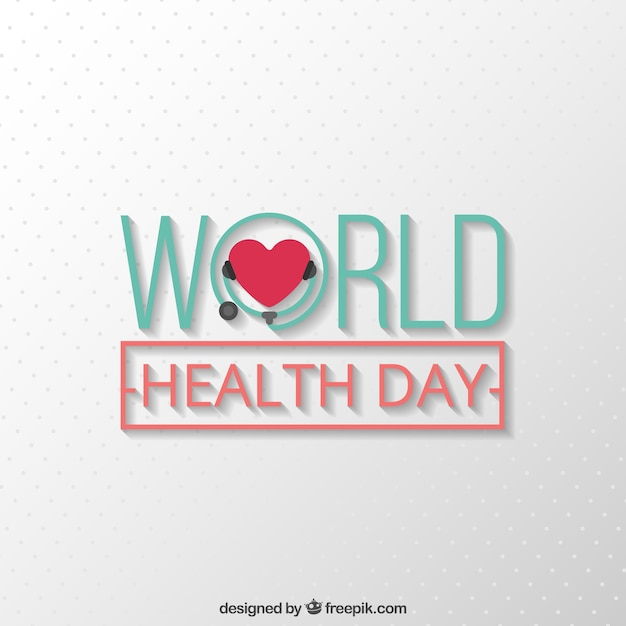 Simple background with a heart of world health\ day