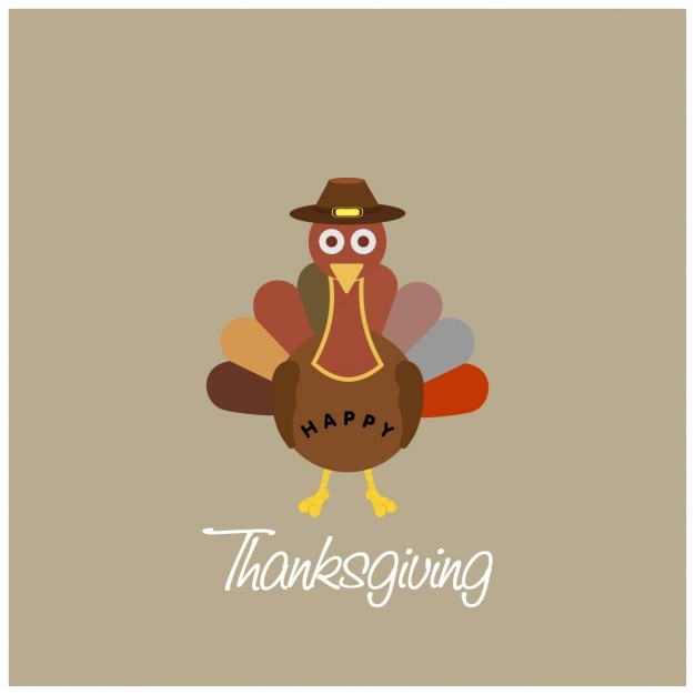 Simple background with a turkey for thanksgiving day Free Vector