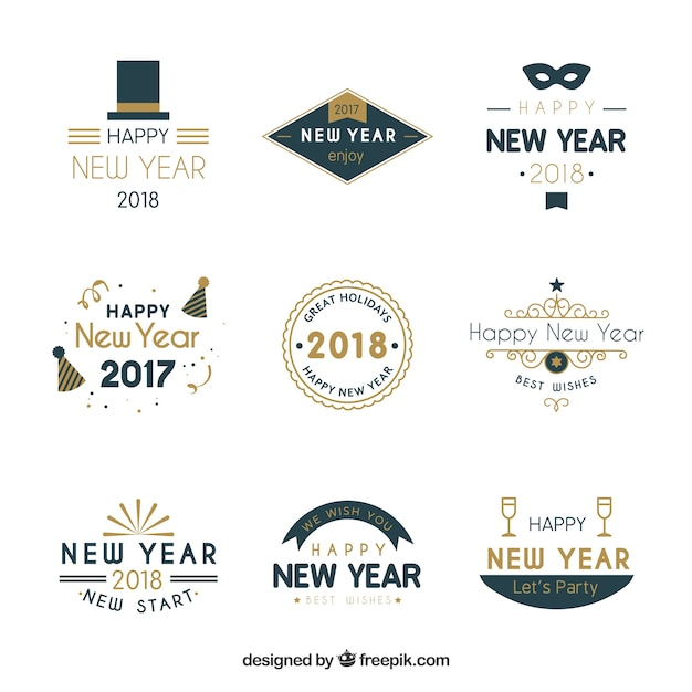 Simple badges for new year designs