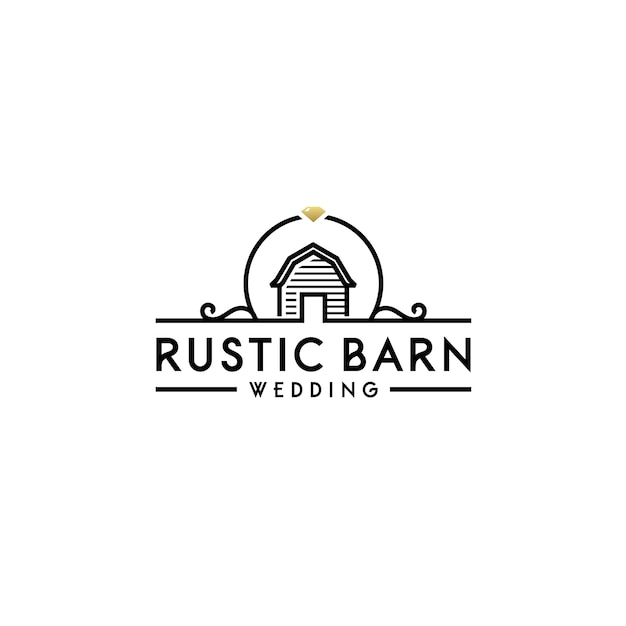 Simple barn with floral wedding banner logo Premium Vector
