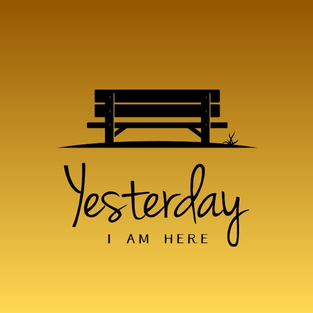 Simple beauty bench with the sunset color illustration Premium Vector