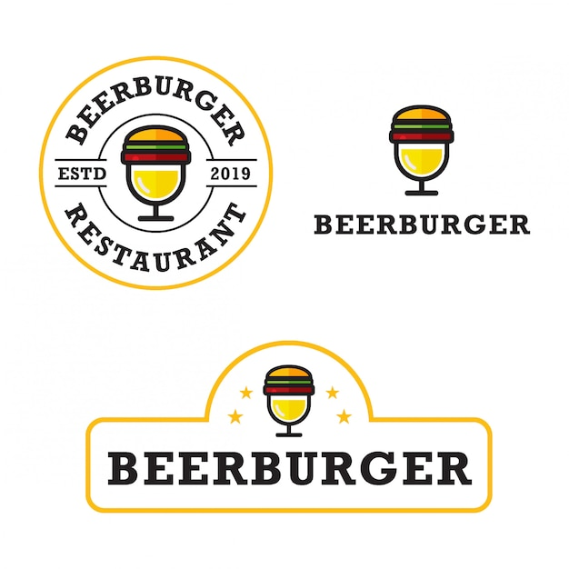 Premium Vector Simple Beer Burger Logo Bundle