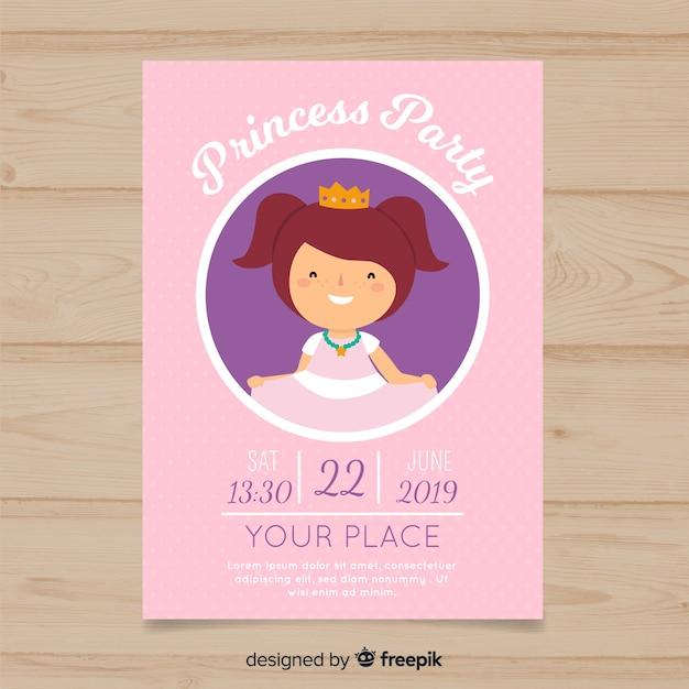 Simple birthday princess invitation Free Vector