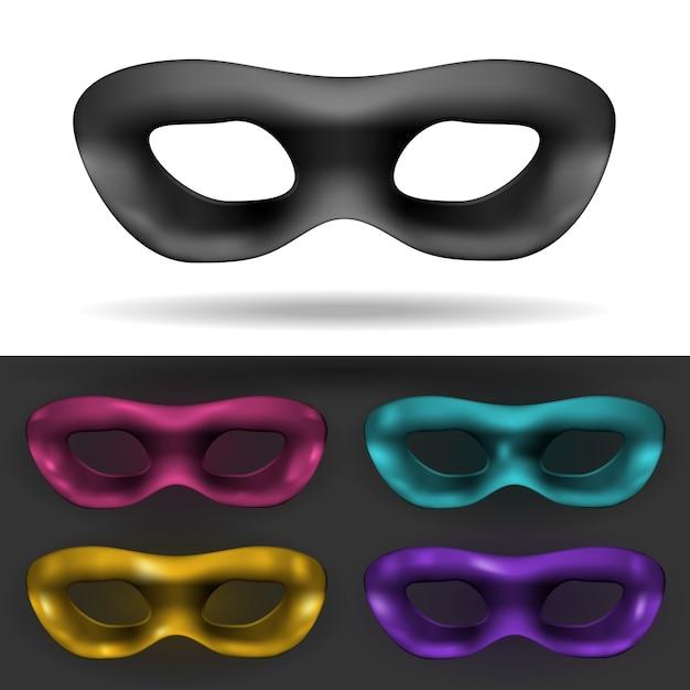 Простые черные и цветные карнавальные маски изолированы Бесплатные векторы