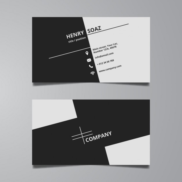 Simple Black And White Business Card Template Vector Free Download - Business card design template free